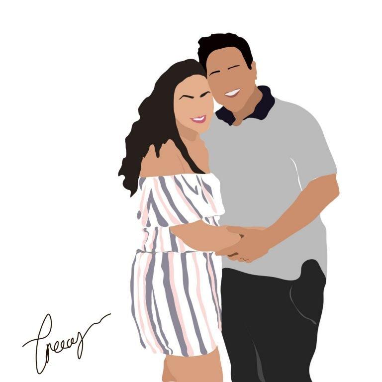 digital illustration of a couple